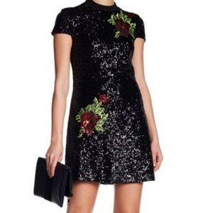 Bebe Black All Over Sequins Party Dress Roses sz 4